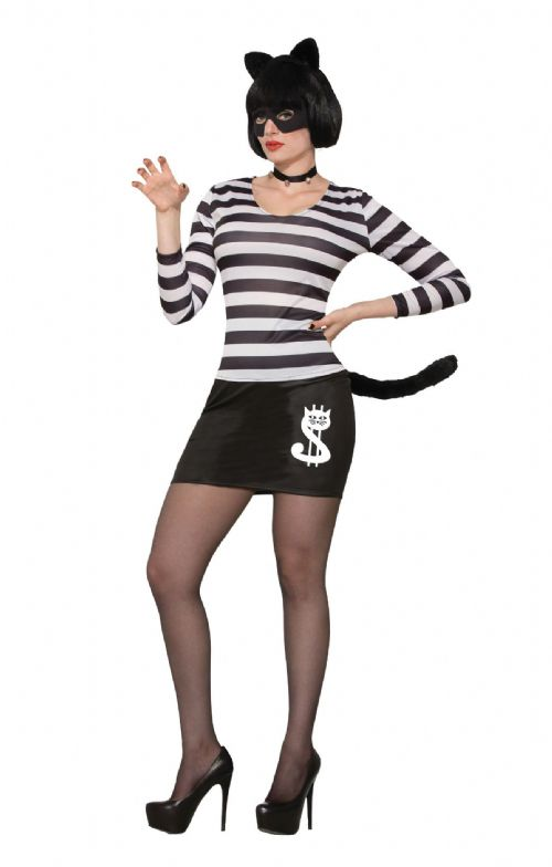 Ladies Cat Burglar Female Costume Feline Pussy Pet Animal Fancy Dress Outfit